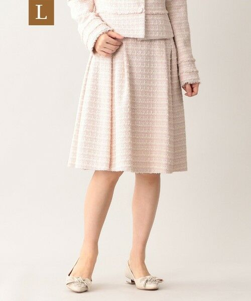 TO BE CHIC (大きいサイズ) / トゥー ビー シック (オオキイサイズ) ロング・マキシ丈スカート | 【L】ファンシーツイードスカート(ピンク系2)