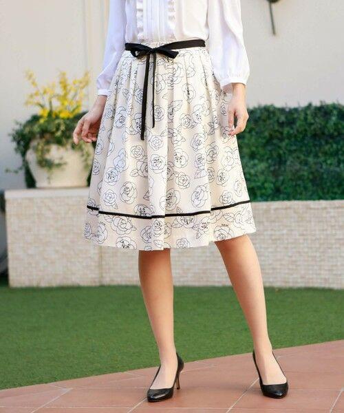 TO BE CHIC / トゥー ビー シック ロング・マキシ丈スカート | カメリアプリントスカート(ベージュ1)