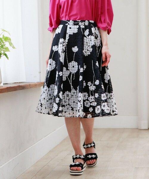 TO BE CHIC / トゥー ビー シック ロング・マキシ丈スカート   ◆◆フラワーギンガム スカート(ネイビー2)