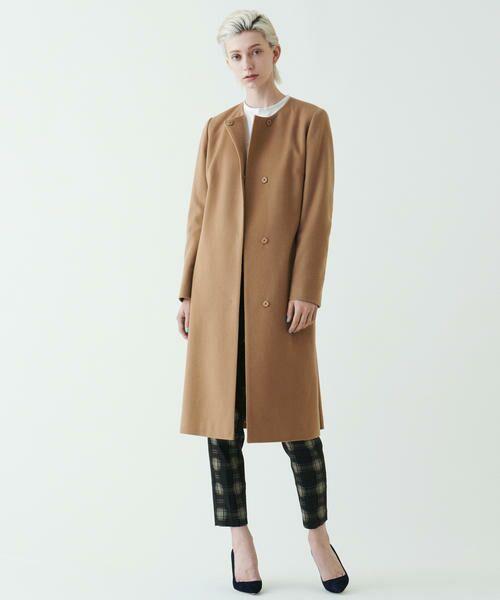 ピュアカシミヤ ベルト付きノーカラーコート