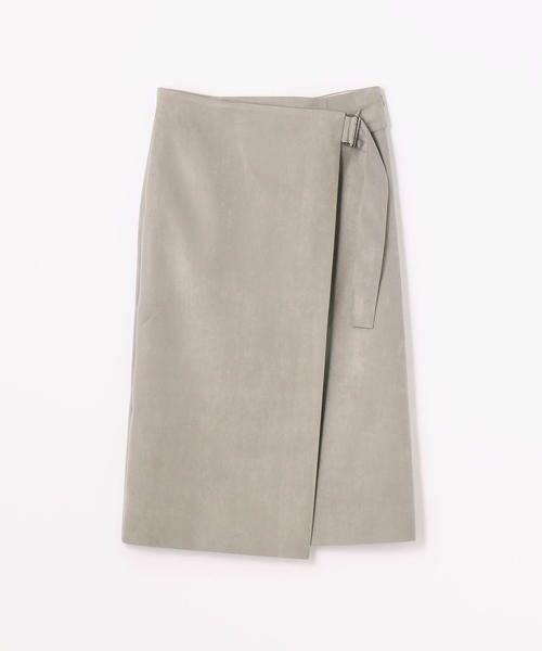 フェイクスエード ラップスカート