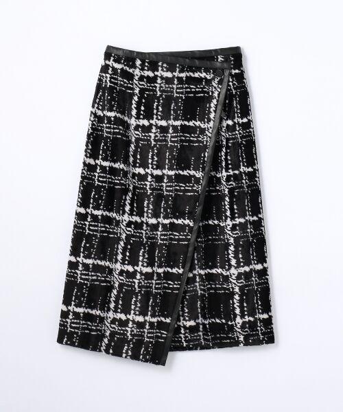 パイルレーヨンチェック Iラインラップスカート