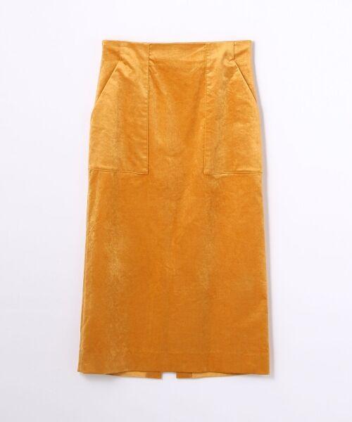 TOMORROWLAND / トゥモローランド ミニ・ひざ丈スカート | ベルベット タイトスカート(25 オレンジ)