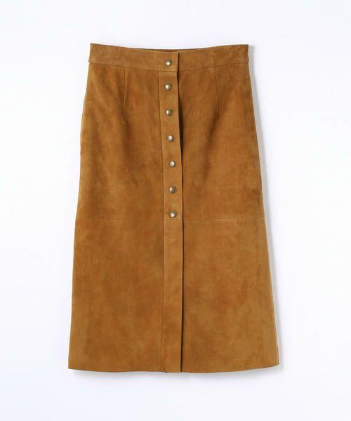 TOMORROWLAND / トゥモローランド ミニ・ひざ丈スカート | ラムレザー フロントボタンミディスカート(45 ブラウン)