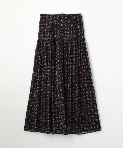 ポリエステルペイズリープリント フレアマキシスカート