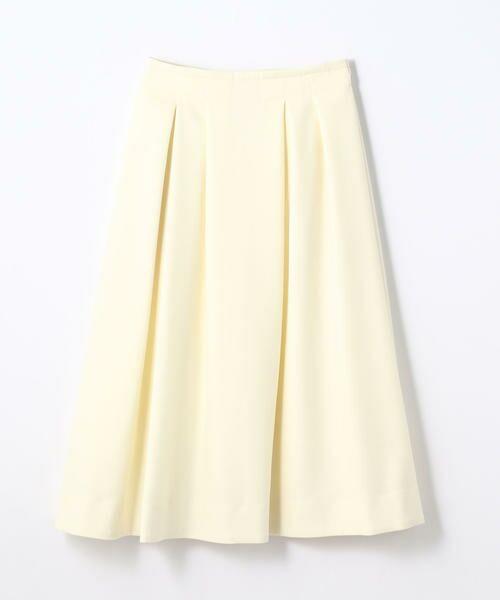 TOMORROWLAND / トゥモローランド ミニ・ひざ丈スカート | ボタニーウール タックスカート(11 ホワイト)
