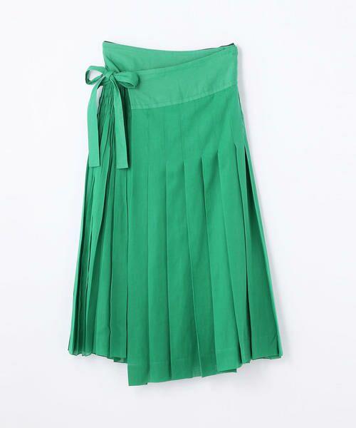 TOMORROWLAND / トゥモローランド ミニ・ひざ丈スカート | コットンボイル ラッププリーツスカート(55 グリーン)
