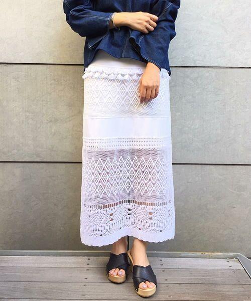 TOMORROWLAND / トゥモローランド ロング・マキシ丈スカート | シルクコットンレースコンビ Iラインスカート(11 ホワイト)