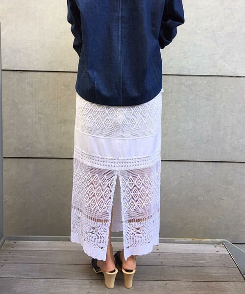 TOMORROWLAND / トゥモローランド ロング・マキシ丈スカート | シルクコットンレースコンビ Iラインスカート | 詳細2