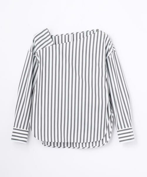TOMORROWLAND / トゥモローランド シャツ・ブラウス | コットンポリエステル アシンメトリーネックシャツ(18 ブラック系)