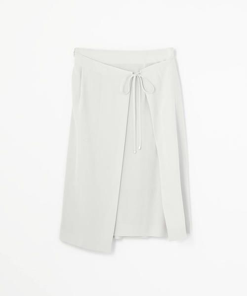 TOMORROWLAND / トゥモローランド ミニ・ひざ丈スカート | アセテートファイユ ラップスカート(13 ライトグレー)
