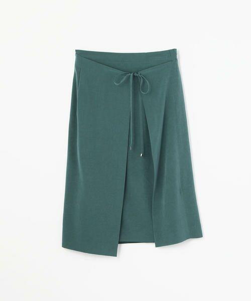 TOMORROWLAND / トゥモローランド ミニ・ひざ丈スカート | アセテートファイユ ラップスカート(59 ダークグリーン)