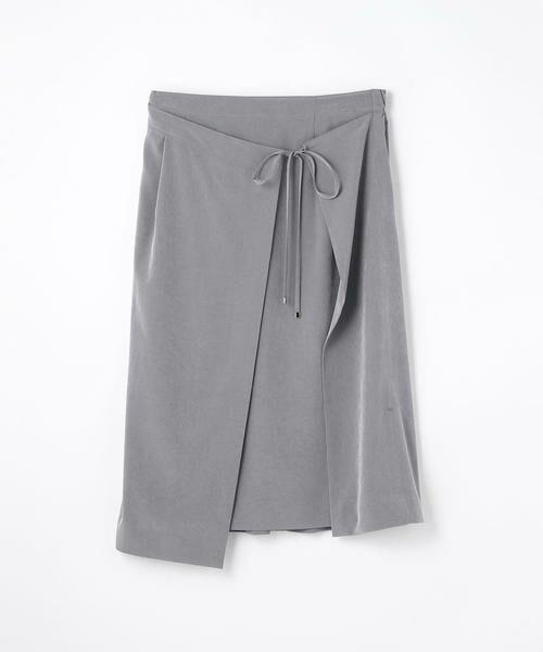 TOMORROWLAND / トゥモローランド ミニ・ひざ丈スカート | アセテートファイユ ラップスカート(65 ブルー)