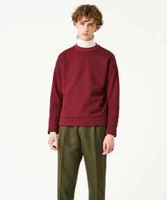 トレンド感のあるビッグシルエットのスエットシャツ。<br>定石通りジーンズやチノパンにはもちろん、きれいな素材感を活かしてスラックスなどとのコーディネートもおすすめ。<br>定番的なカジュアルアイテムながら、絶妙に洒落て見えるこだわりの1着です。<br>MADE IN JAPAN<br><br>■素材<br>日本独自の超ハイゲージ(32ゲージ)で編み上げられたジャージー素材を使用。<br>超ハイゲージのためジャージーながら織り物のような不思議な質感に仕上がっています。<br>裏面をフリースのように起毛させることでほど良い厚みと驚きの軽さを両立しました。<br>きれいな表面感はまさに大人カジュアルにぴったりです。<br><br>■デザイン<br>トレンド感のあるビッグシルエットを採用。<br>〈TOMORROWLAND〉らしい大袈裟すぎない絶妙なサイズバランスは、幅広い年齢層にフィットします。<br>袖口・裾口をリブではなく共地にすることで、スポーティな印象を軽減するとともにすとんと落ちる独自のシルエットに仕上げました。<br>安心感とトレンド感を両立させたスタイル不問のデザインです。<br><br>2018AW商品<br><br><b>店舗にお問い合わせの際は、下記の品番をお申し付けください。<br>品番:63038403106</b>