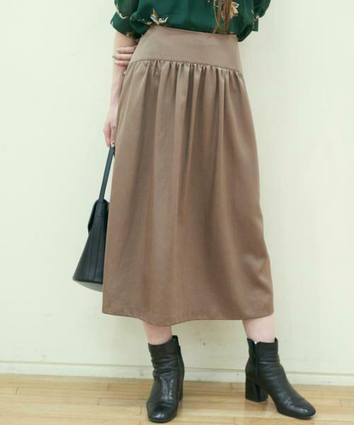 TOMORROWLAND / トゥモローランド ミニ・ひざ丈スカート | ブライトナイロン ヨークギャザースカート(47 ブラウン)
