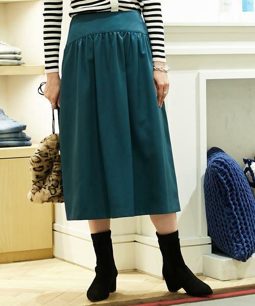 TOMORROWLAND / トゥモローランド ミニ・ひざ丈スカート | ブライトナイロン ヨークギャザースカート(55 グリーン)