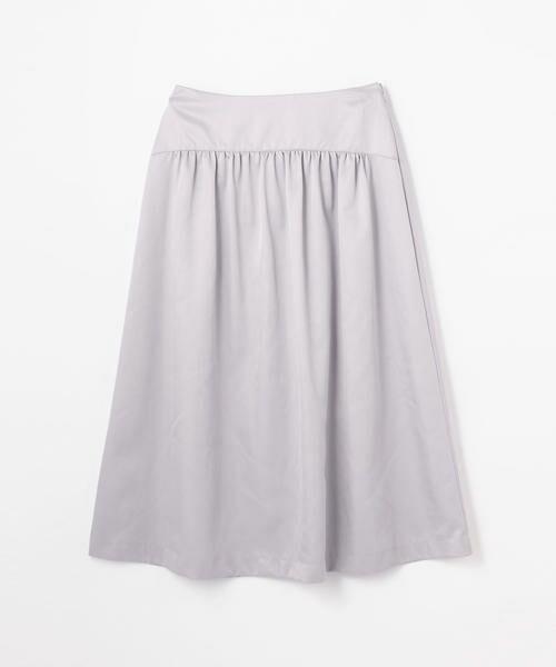 TOMORROWLAND / トゥモローランド ミニ・ひざ丈スカート | ブライトナイロン ヨークギャザースカート(73 ライトパープル)
