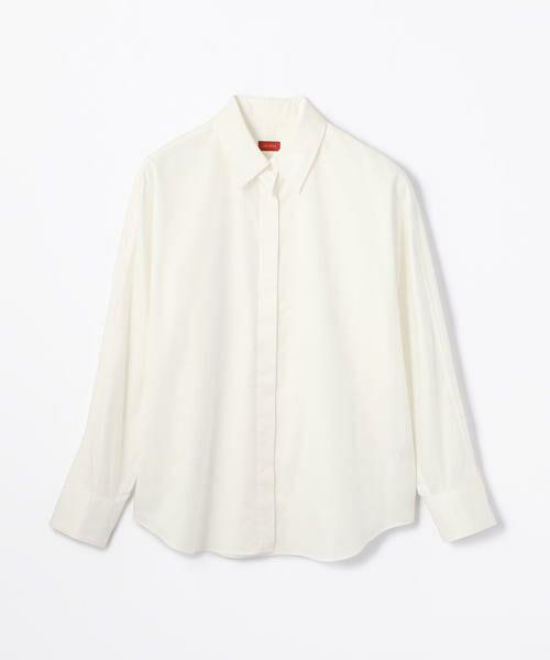TOMORROWLAND / トゥモローランド シャツ・ブラウス | コットンサテン ラウンドスリーブシャツ(11 ホワイト)