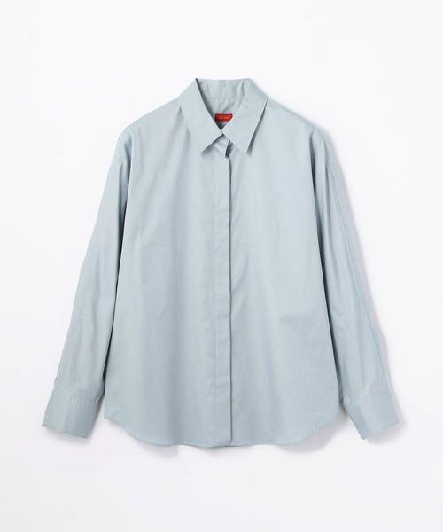 TOMORROWLAND / トゥモローランド シャツ・ブラウス | コットンサテン ラウンドスリーブシャツ(61 ライトブルー)