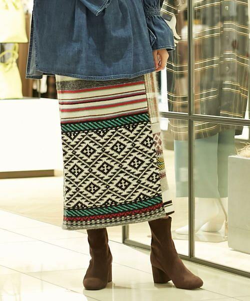 TOMORROWLAND / トゥモローランド ミニ・ひざ丈スカート | パッチワークジャカード Iラインスカート(18 マルチ)