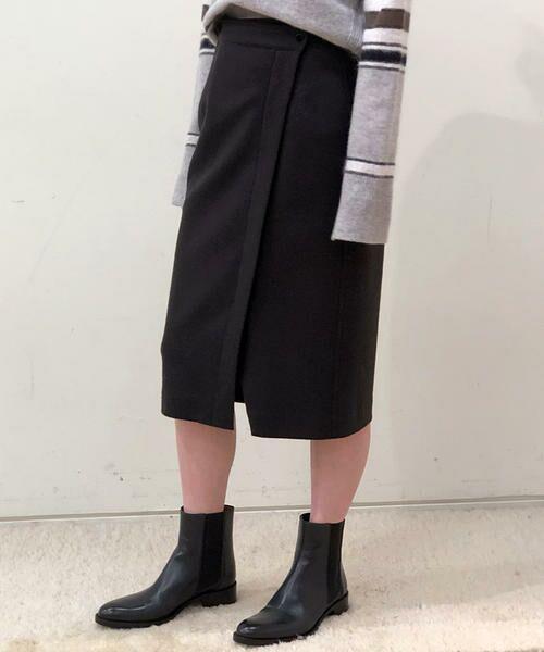 TOMORROWLAND / トゥモローランド ミニ・ひざ丈スカート | ウールメルトンジャージー ラップタイトスカート(17 チャコールグレー)