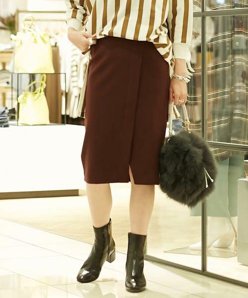 TOMORROWLAND / トゥモローランド ミニ・ひざ丈スカート | ウールメルトンジャージー ラップタイトスカート(39 ボルドー)