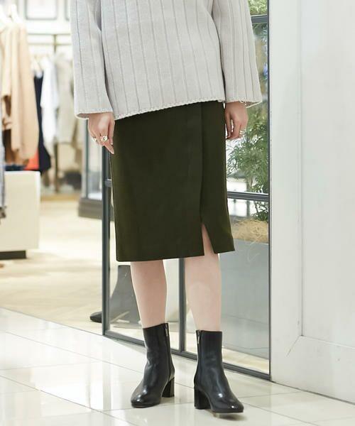 TOMORROWLAND / トゥモローランド ミニ・ひざ丈スカート | ウールメルトンジャージー ラップタイトスカート(57 カーキ)