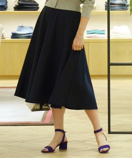 TOMORROWLAND / トゥモローランド ミニ・ひざ丈スカート | ポリエステルサテン サーキュラースカート(69 ネイビー)