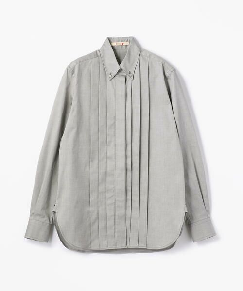 TOMORROWLAND / トゥモローランド シャツ・ブラウス   コットンオックス プリーツボタンダウンシャツ(17 チャコールグレー)