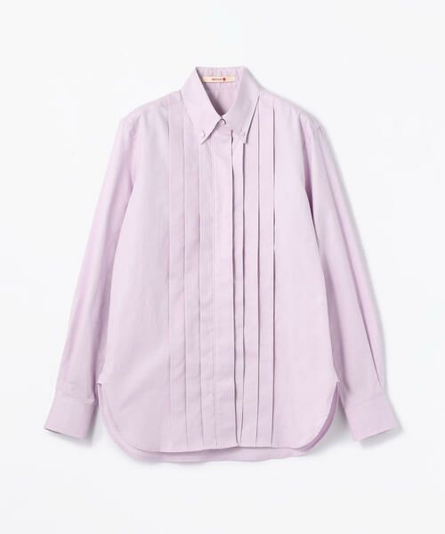 TOMORROWLAND / トゥモローランド シャツ・ブラウス   コットンオックス プリーツボタンダウンシャツ(73 ライトパープル)