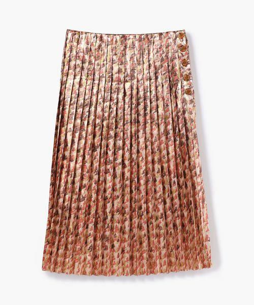 TOMORROWLAND / トゥモローランド ミニ・ひざ丈スカート   メタルラメプリント プリーツスカート(36 レッド系)