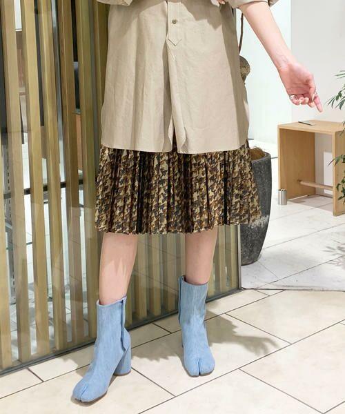 TOMORROWLAND / トゥモローランド ミニ・ひざ丈スカート   メタルラメプリント プリーツスカート(46 ブラウン系)