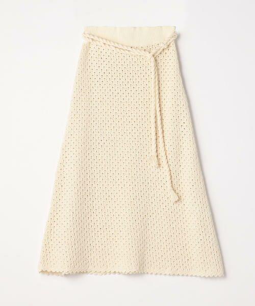 TOMORROWLAND / トゥモローランド ミニ・ひざ丈スカート   リサイクルコットン Aラインスカート(41 ライトベージュ)