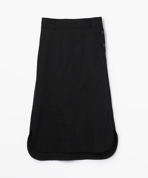 TOMORROWLAND / トゥモローランド ミニ・ひざ丈スカート | リネンナイロンストレッチ ラウンドへムスカート(19 ブラック)