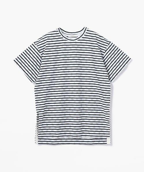 TOMORROWLAND / トゥモローランド カットソー | コットンボーダーオーバープリント ビッグTシャツ(12 ホワイト系)