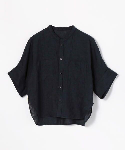 TOMORROWLAND / トゥモローランド シャツ・ブラウス | フレンチリネン ハーフスリーブシャツ(69 ネイビー)