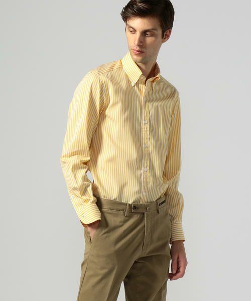 TOMORROWLAND/トゥモローランド 120/2コットンブロード ボタンダウン ドレスシャツ NEW BD-4 26 イエロー系 40