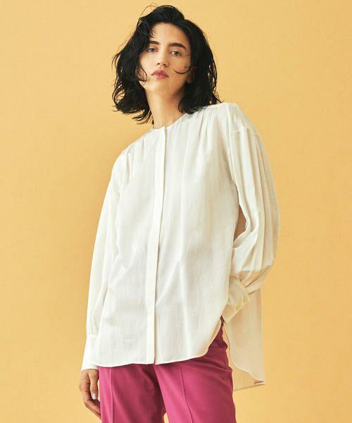 TOMORROWLAND / トゥモローランド シャツ・ブラウス | コットンシルク バックギャザーシャツ(11 ホワイト)