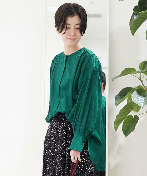 TOMORROWLAND / トゥモローランド シャツ・ブラウス | コットンシルク バックギャザーシャツ(55 グリーン)