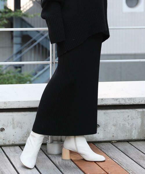 TOMORROWLAND / トゥモローランド ミニ・ひざ丈スカート   ウーステッドウールリブ Iラインミディスカート(19 ブラック)