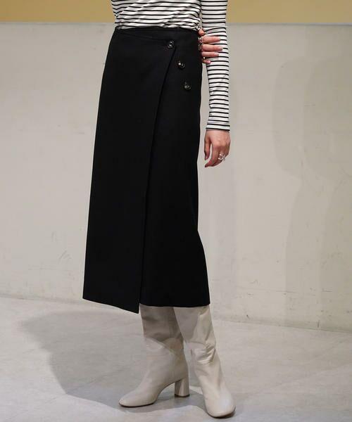 TOMORROWLAND / トゥモローランド ミニ・ひざ丈スカート | ウールストレッチ 3-wayスカート(19 ブラック)
