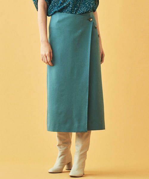 TOMORROWLAND / トゥモローランド ミニ・ひざ丈スカート | ウールストレッチ 3-wayスカート(53 グリーン)