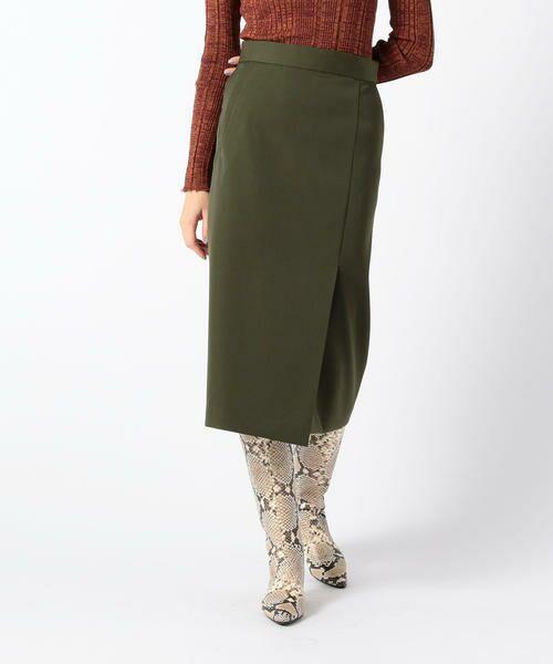 TOMORROWLAND / トゥモローランド ミニ・ひざ丈スカート   ライトダブルクロス サイドスリットスカート(55 グリーン)