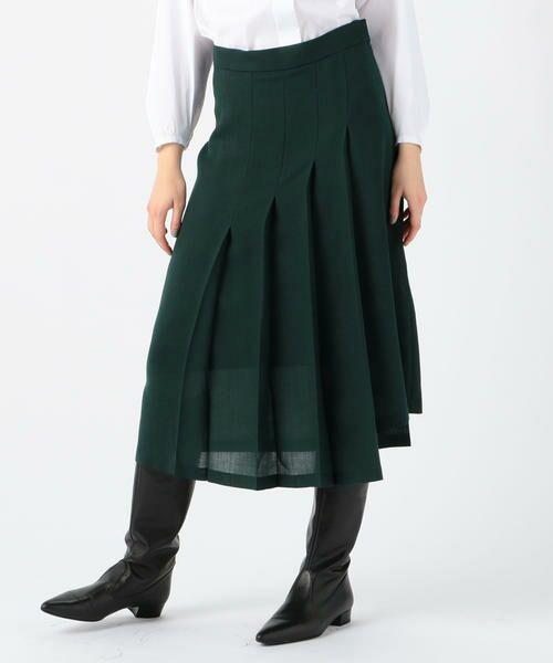 TOMORROWLAND / トゥモローランド ミニ・ひざ丈スカート | ドライクロス アシンメトリープリーツスカート(57 カーキ)