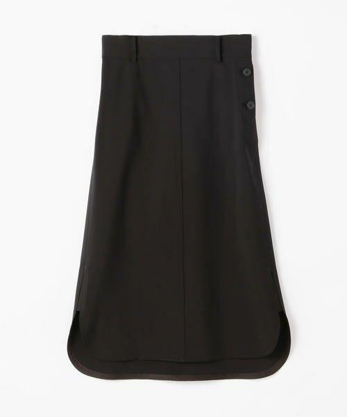 TOMORROWLAND / トゥモローランド ミニ・ひざ丈スカート | ウールストレッチ ラウンドヘムスカート(19 ブラック)