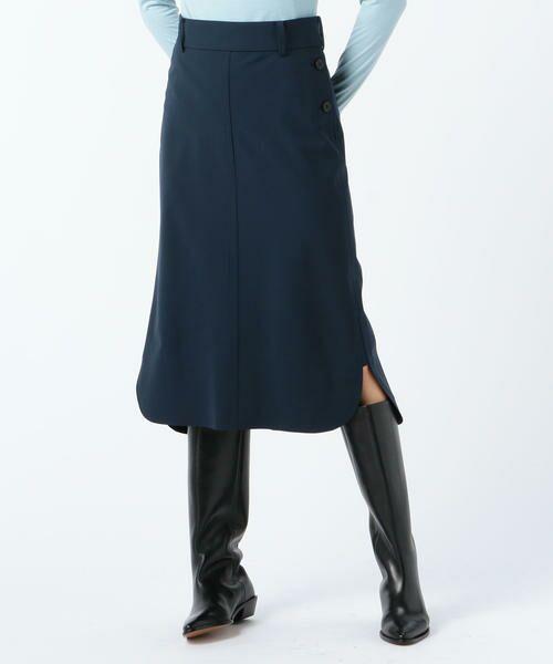 TOMORROWLAND / トゥモローランド ミニ・ひざ丈スカート | ウールストレッチ ラウンドヘムスカート(67 ダークブルー)