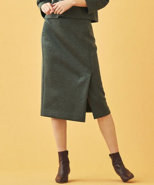 TOMORROWLAND / トゥモローランド ミニ・ひざ丈スカート | ボンディングクロス サイドスリットスカート(13 ライトグレー)