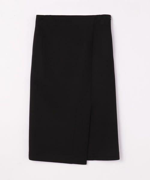TOMORROWLAND / トゥモローランド ミニ・ひざ丈スカート | ボンディングクロス サイドスリットスカート(19 ブラック)