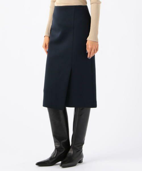 TOMORROWLAND / トゥモローランド ミニ・ひざ丈スカート | ボンディングクロス サイドスリットスカート(69 ネイビー)