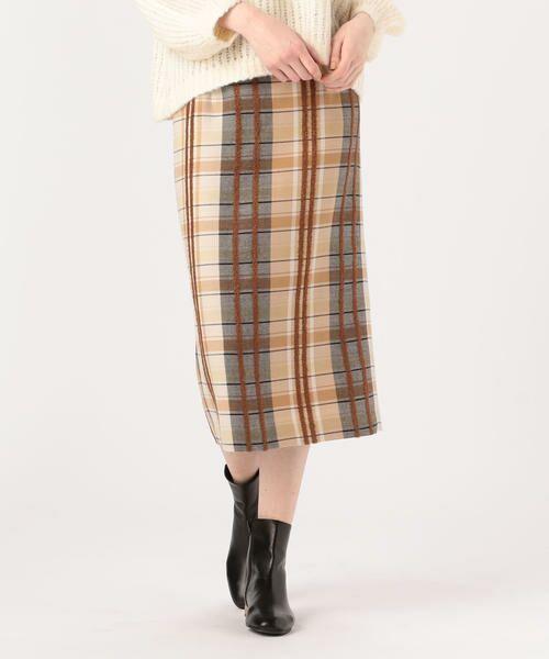 TOMORROWLAND / トゥモローランド ミニ・ひざ丈スカート | リングエフェクトチェック Iラインスカート(46 ブラウン系)